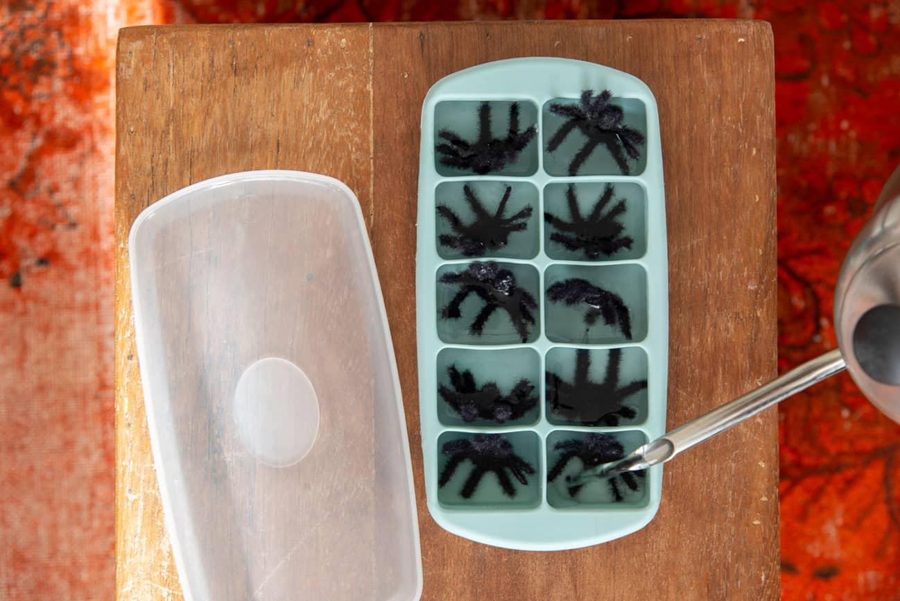 Na forma de gelo, vemos uma aranha de plástico dentro de cada cavidade. Um bule derrama água dentro da forma.