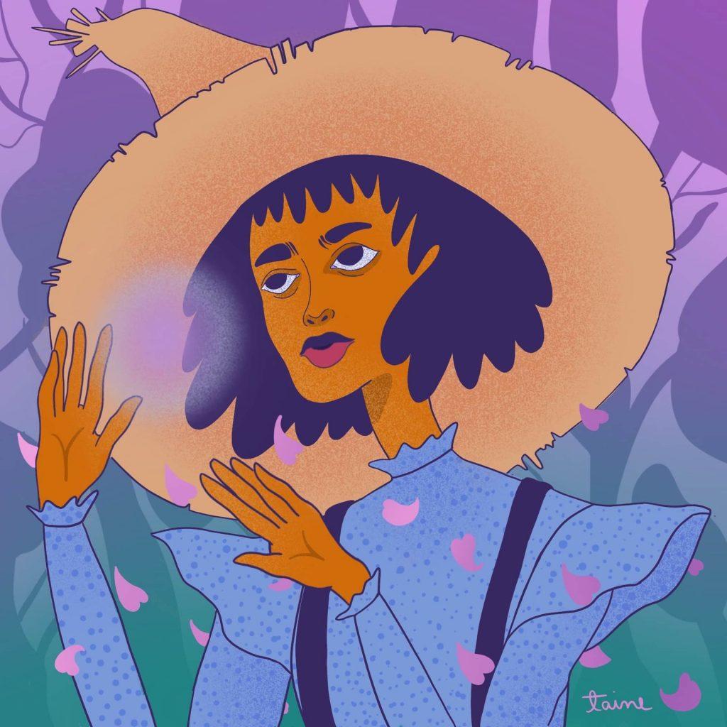 Ilustração colorida: mulher com chapéu de abas largas e blusa azul faz gesto com as mãos e tem corações estilizados à sua volta.